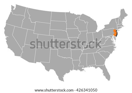 Map United States New Jersey Stock Vector Shutterstock - New jersey us map