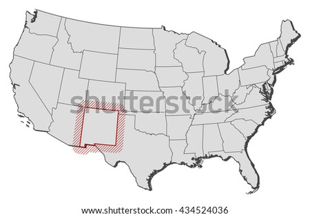 Map United States New Mexico Stock Vector Shutterstock - New mexico on us map