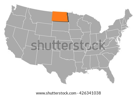 Map - United States, North Dakota
