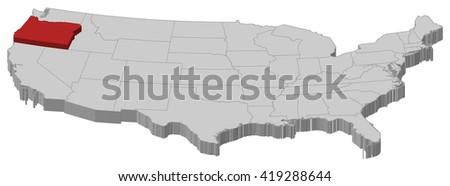 Map - United States, Oregon - 3D-Illustration - stock vector