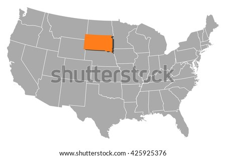 Map United States South Dakota Stock Vector Shutterstock - South dakota map united states
