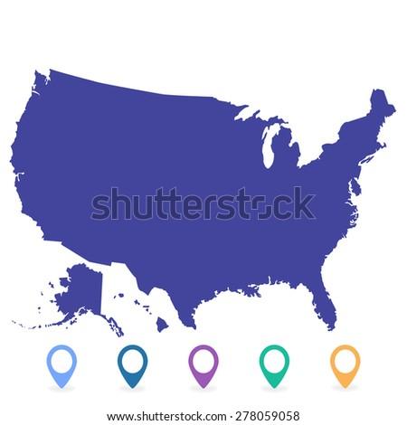 map USA - stock vector