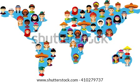 Map vector illustration of multicultural national children, people on planet earth Set of international people in traditional costumes on the map world