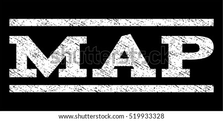 Map watermark stamp. Text tag between horizontal parallel lines with grunge design style. Rubber seal stamp with dust texture. Vector white color ink imprint on a black background.