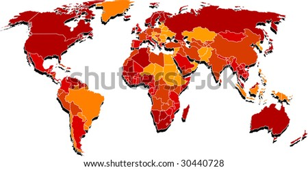 Map where is mixed red and yellow colors by country - stock vector
