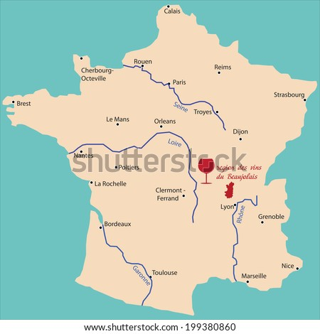map wine region of beaujolais in France  - stock vector
