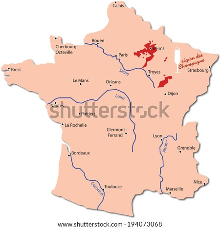 map wine region of champagne - stock vector