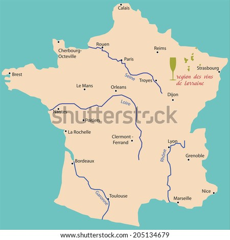 Map Wine Region Lorraine France Stock Vector 205134679 Shutterstock