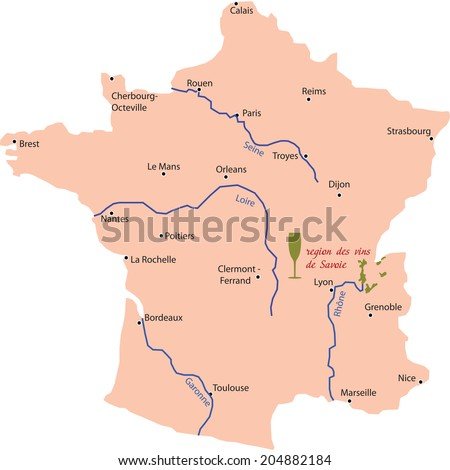 map wine region of savoie in France - stock vector