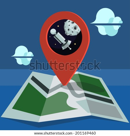 Map with a marker, satellite and moon - stock vector