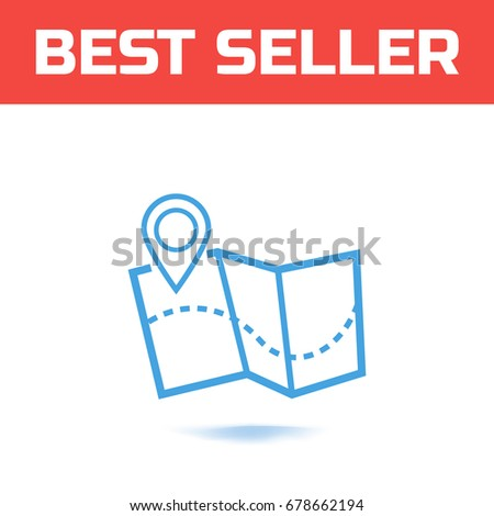 Map with a pointer isolated on white background. The Symbol for your web site design or logo or user interface. Vector illustration.