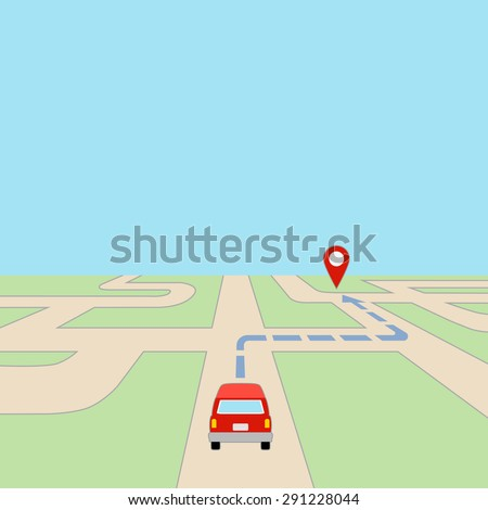 Map with Car and GPS Route on Road, grouped and layered EPS10  - stock vector
