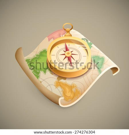 map with compass - stock vector