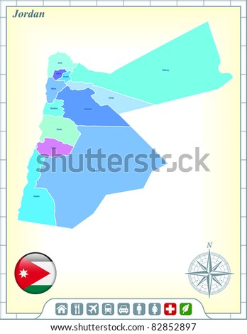 Map with Flag Buttons and Assistance & Activates Icons Original Illustration - stock vector