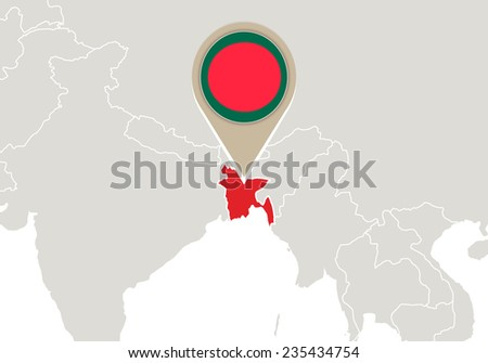 Map with highlighted Bangladesh map and flag - stock vector