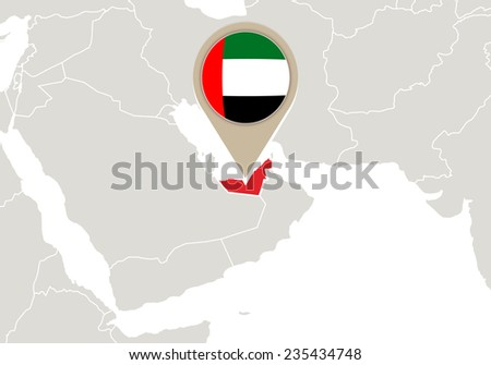 Map with highlighted United Arab Emirates map and flag - stock vector