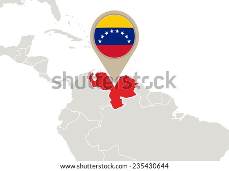Map with highlighted Venezuela map and flag - stock vector