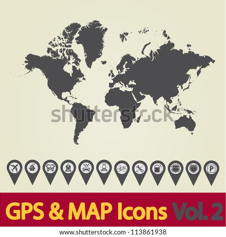 Map with Navigation Icons. Vol. 2. Vector illustration. - stock vector