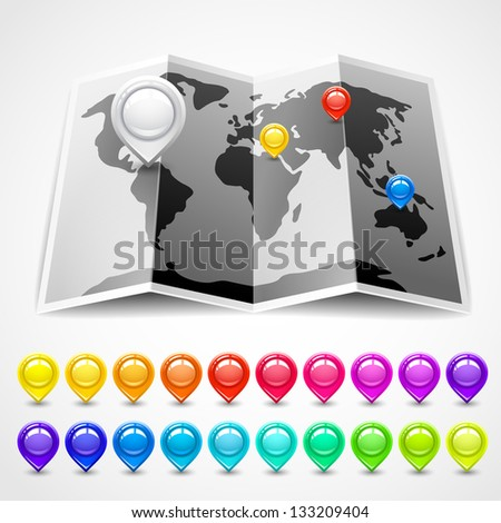 Map with pin pointers location, vector illustration - stock vector