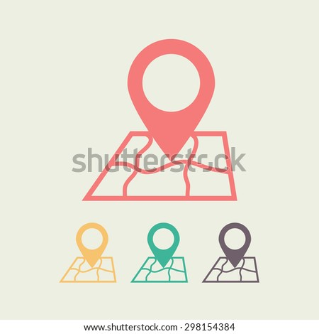 Map with pointer icon, vector illustration. Flat design style - stock vector