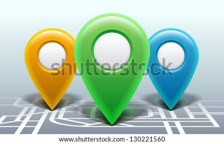 Map with pointers, vector eps10 illustration - stock vector