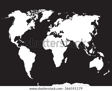 Map World Black White Atlas Globe Stock Vector - World map continents and oceans black and white