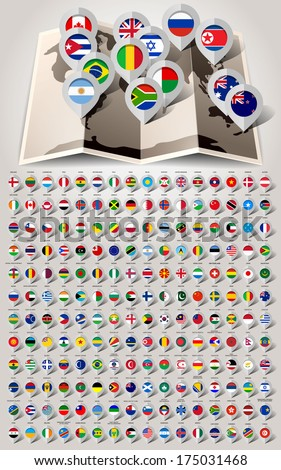 Map world 192 markers with flags. Vector illustration