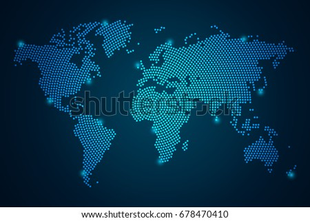 Map world point scales on dark stock vector 2018 678470410 map world point scales on dark background with map world wire frame 3d mesh polygonal gumiabroncs Image collections