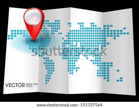 Map world with pin pointers location - stock vector