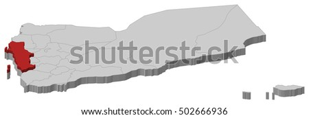 Map Yemen Al Hudaydah 3dillustration Stock Vector 502666936