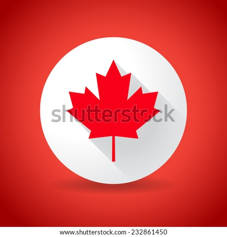 Maple leaf flag, in flat design - stock vector