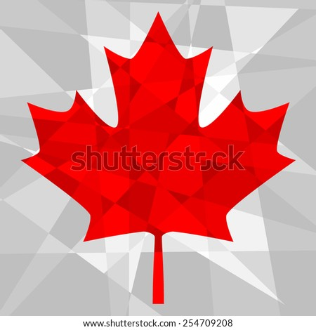 Maple leaf made from polygons - stock vector