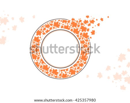 Maple Leaf Round Frame Design With Copyspace Over White Background - stock vector