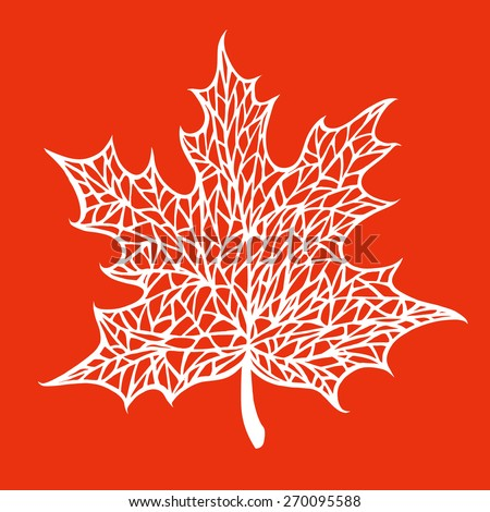 maple leaf with a pattern of veins - stock vector