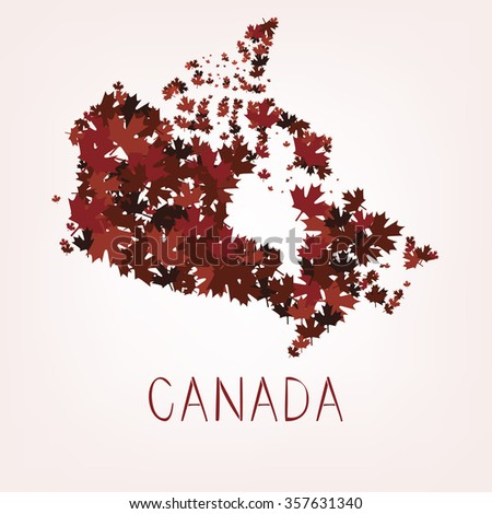 maple leafs map of Canada - stock vector