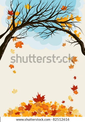 Maple leaves background with space for text - stock vector