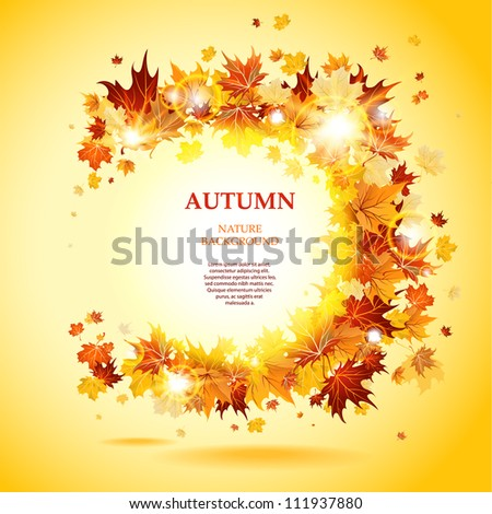 Maple leaves frame with space for text - stock vector