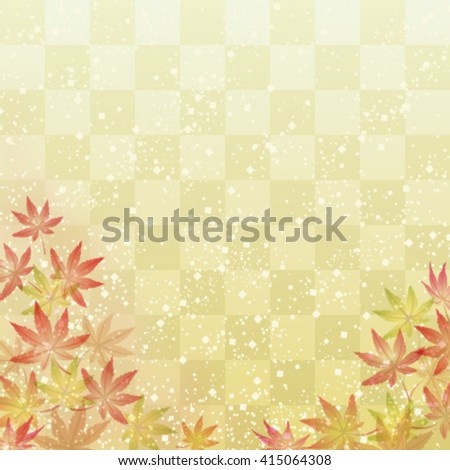 Maple leaves on Japanese traditional background - stock vector