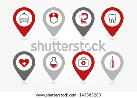 mapping pins icons medical - stock vector