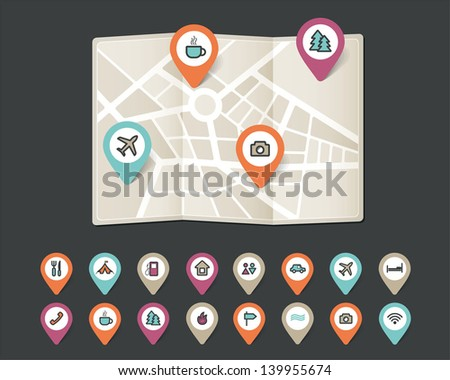 mapping pins icons travel - stock vector