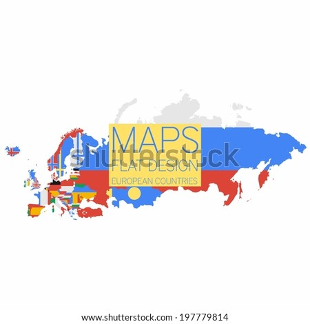MAPS Flat Design European Countries (Updated June 2014)  - stock vector