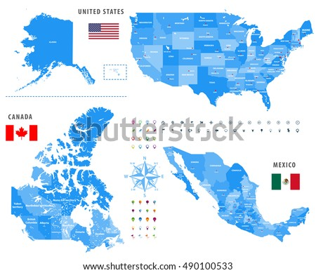 maps of canada united states and mexico with flags and locationnavigation icons