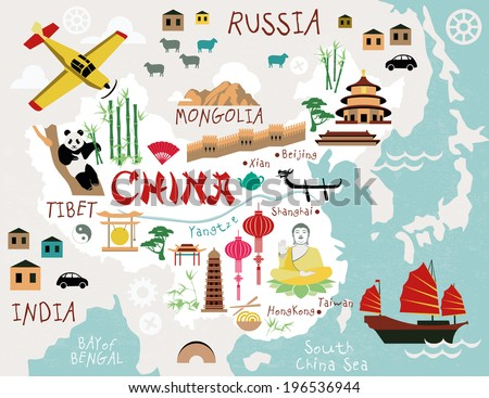 Maps of China - stock vector