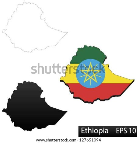 Maps of Ethiopia, 3 dimensional with flag clipped inside borders,and shadow, and black and white contours of country shape, vector - stock vector
