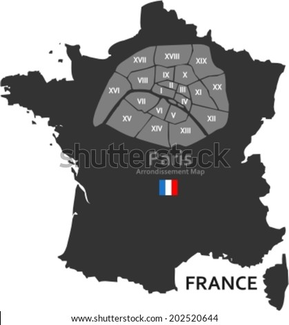 Maps of France and Paris with its districts  - stock vector