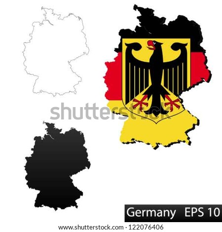 Maps Germany Dimensional Flag Clipped Stock Vector - Germany map shape