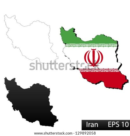 Maps of Iran, 3 dimensional with flag clipped inside borders,and shadow, and black and white contours of country shape, vector