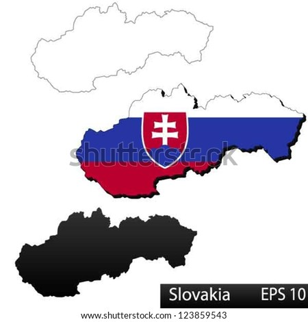 Maps of Slovakia, 3 dimensional with flag clipped inside borders,and shadow, and black and white contours of country shape, vector