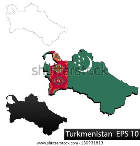 Maps of Turkmenistan, 3 dimensional with flag clipped inside borders,and shadow, and black and white contours of country shape, vector