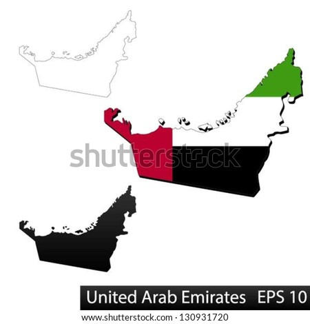 Maps of United Arab Emirates, 3 dimensional with flag clipped inside borders,and shadow, and black and white contours of country shape, vector - stock vector
